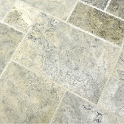 antolian mist Silver Brushed & chipped  Travertine Tiles