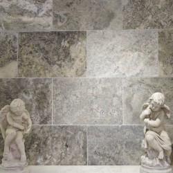 Antolian mist Silver Honed Travertine Tiles