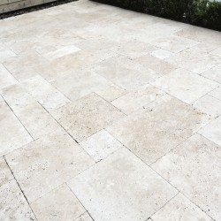 Cathedral tumbled travertine pavers