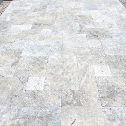 Silver travertine tumbled pavers 30mm
