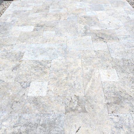 Silver travertine tumbled pavers 30mm