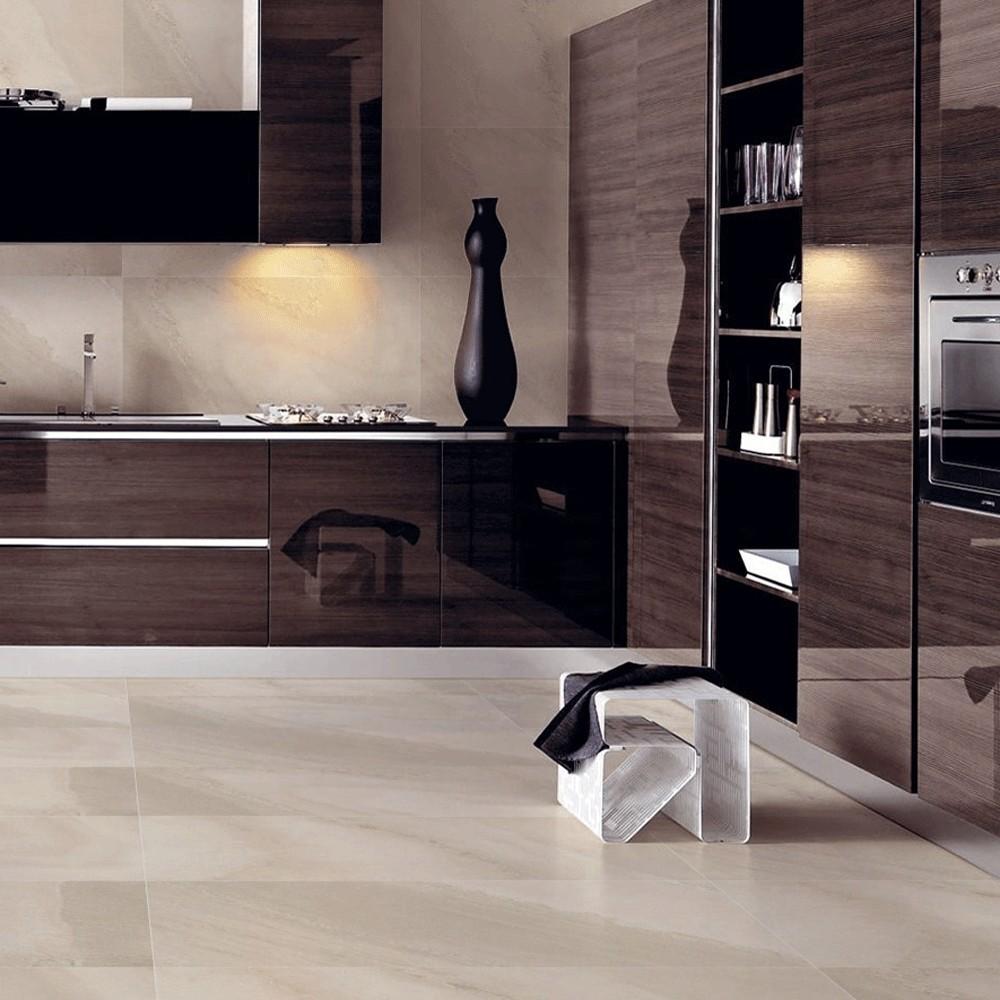 cream semi polished large format porcelain floor tile