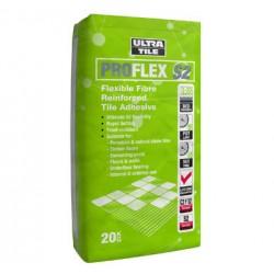 Proflex s2 flexible fibre reinfored tile adhesive white 20kg